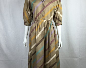 Vtg 70s 80s does 50s striped fall fit and flare pastel dress
