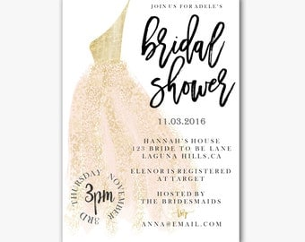 Printable Bridal Shower Invitation // Blush and Gold // Dress illustration // Wedding dress // Bachorlorette Party // Glitter  Watercolour