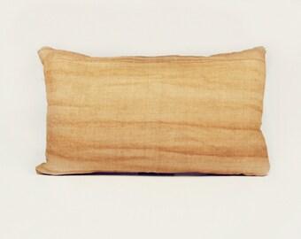 "Hmong Pillow - 18"" x 12"" - Hand-woven, Hand-dyed Tan"