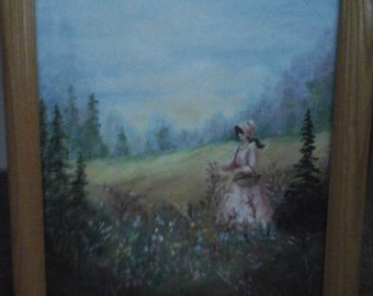 Signed original oil painting girl in field