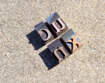 Vintage Letterpress Wooden Printers Type Blocks - (4) Letter Blocks