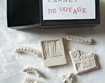 Set of rubber stamps engraved hand travel #Carnet