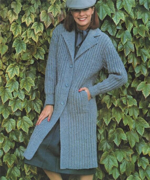 Knitting Pattern For Ladies Aran Sweater : Pdf ladies aran coat knitting pattern womens