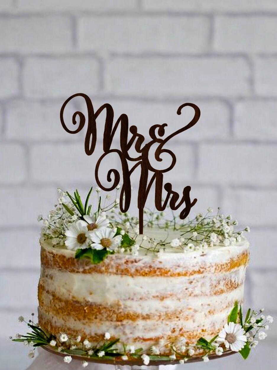 Wedding Cake Topper Mr Mrs Custom Wooden Mr And Mrs Cake