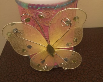 Yellow Butterfly LED Candle