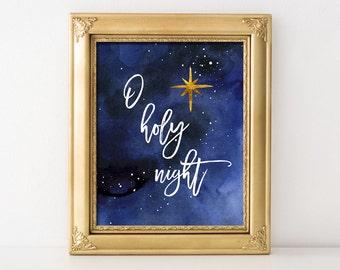 O Holy Night Christmas Printable Wall Art O Holy Night Print Christmas Decor Christmas Print Stars Printable Religious Christmas Decor Print