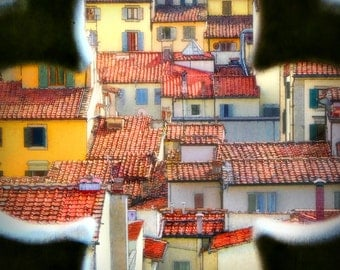 Florence Italy, Florence roof tops, view from above, bright colours, orange, Italy photography, wall art, fine art photography, Italy art