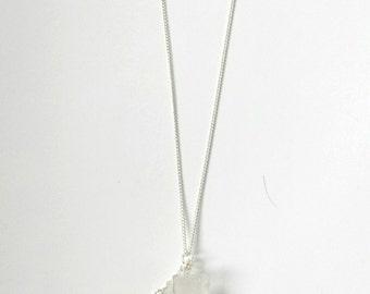 Clear Quartz Lime Tassel Necklace / Clear Quarts Necklace / Raw Crystal Necklace / Crystal Necklace / Tassel Necklace /
