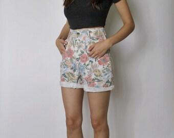 Vintage 1980s High Waist Shorts | High Waist Floral Shorts | Denim Shorts | XS
