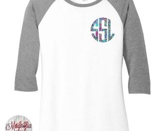 Custom Monogram Print Women's Raglan 2 Tone Color 3/4 Sleeve Baseball Shirts in sizes Small-4X, Plus Sizes, Lilly Pulitzer Inspired