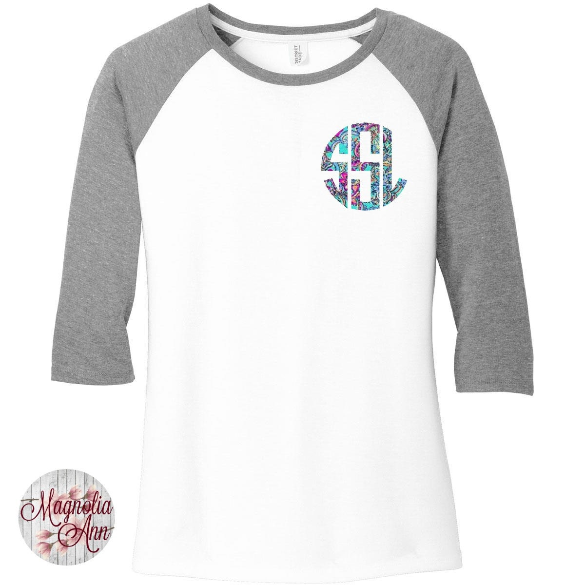 Custom monogram print women 39 s raglan 2 tone color 3 4 for Custom raglan baseball shirt