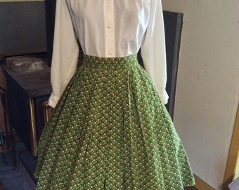 Early 60's Floral Handmade Pleated Skirt