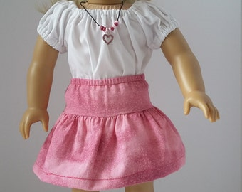 """18"""" Doll Clothes - Pink skirt and peasant blouse"""
