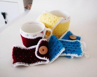 Crocheted mug warmers, Mug Cosy, Cup Cosy (1 pair), Housewarming Gift