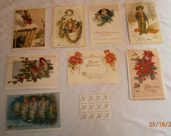Vintage Christmas Postcards with Sinclair Lewis Stamps