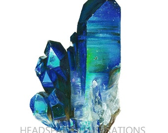 Blue and Green Crystal Mineral - Colored Pencil Art Print by Headspace Illustrations