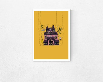 Witch's House / Witch Art / Witch Print / Magic Print / Halloween Poster / Witchy Poster/ Poster Art / Magic Illustration / Halloween