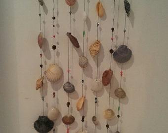 Seashell  Driftwood and Bead Wall Hanging