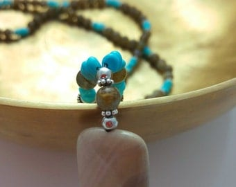 Mala necklace of Turquoise, agate and Labradorite
