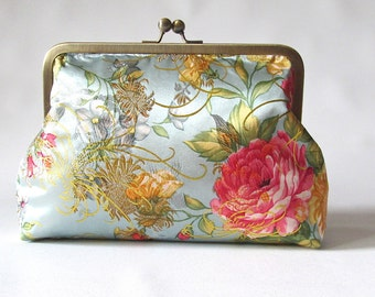 Clutch Purse, Roses Clutch, Evening Clutch, Wedding Clutch, Metallic Blue and Gold Clutch, Bridal Clutch , Silk clutch