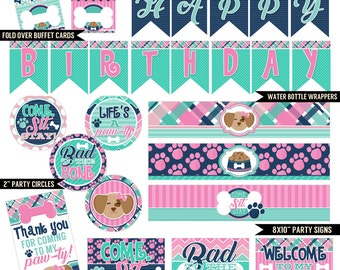 Posh Puppy Digital Printable Girls Pet Puppy Dog Birthday Party Printables Package INSTANT DOWNLOAD