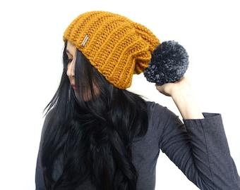 Slouchy hat, slouchy beanie, pompom beanie, knitted hat, hat for women, slouchy pompom beanie, oversized pompom hat