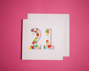 21st Birthday Moving Confetti Shaker Card