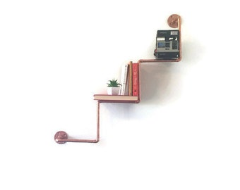 Industrial Copper Pipe Zig Zag Bookshelf