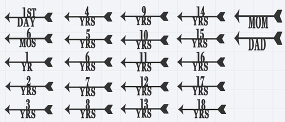 Height Marker For Growth Chart Ruler Vinyl Decal Arrow With