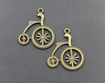 20pcs Penny Farthing Charm Antique Bronze Tone 27x32mm - BH169