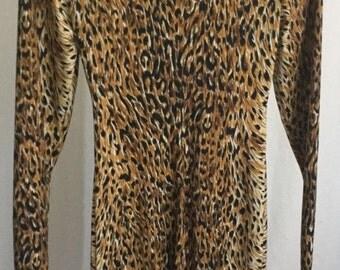 Vintage Norma Kamali Long Sleeve Sheath Dress Leopard Print Petite