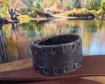 24  Black leather bracelet With pattern