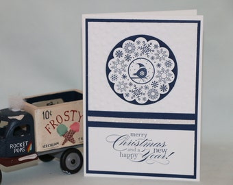 Set of 4 Handmade Christmas Cards.  Navy and white modern Holiday Cards