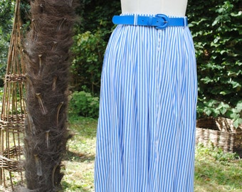 Blue and white striped skirt 1980