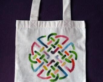 Psychedelic Celtic Knot Tote Bag OOAK Shopping Bag Unique Market Bag Psychedelic Folk Vivid Colors Handpainted Canvas Bag Psy Trance