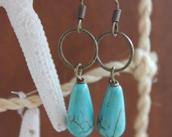 Turquoise Earrings with Antique Brass