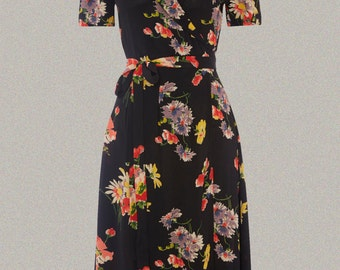1940's Inspired 'Peggy' Wrap Dress in Mayflower Print by The Seamstress of Bloomsbury