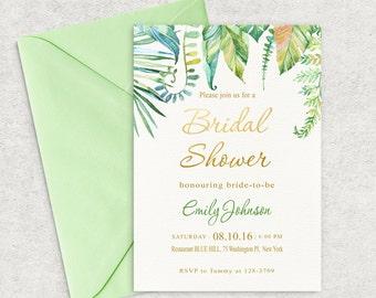 Tropical Leafs, Bridal Shower Invitation, Leafs Bridal Shower Invitation, Tropical Bridal Shower Invite, Custom invitation