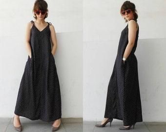 Black Bohemian Maxi Dress with texture of polka