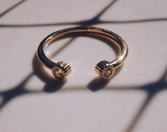 14k gold ring, gold ring, bezel ring, bezel setting ring,Feminine ring, feminine band, eye ring / lovely, girly,luxurious