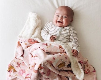 Mermaid Baby Blanket, Faux Fur Baby Blanket, Minky Baby Blanket, Modern Baby Blanket, Plush Baby Blanket, Baby Shower Gift, Baby Girl
