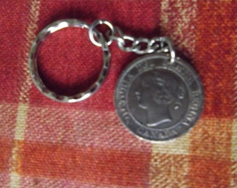 Canada 1 cent coin  -  Victoria 1859  -  a chance to own a piece of history on a keychain.