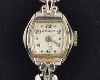 Vintage 1940s wittnauer 14k gold watch with 2 diamonds 14k gold wittnauer womens working watch 7 sciox Choice Image