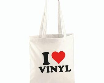 I Love Vinyl Tote Bag