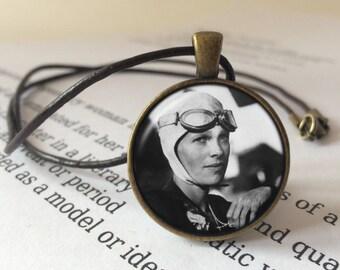 Amelia Earhart Pendant Necklace - Amelia Earhart Jewelry, Aviator Necklace, Heroine Pendant, Amelia Earhart Jewellery