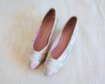 Vintage Naturalizer Pastel Floral Shoes, Union Made, Womens US 8 1/2 / ITEM339