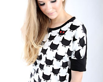 MEKO 'Cool' oversize shirt cat black ladies