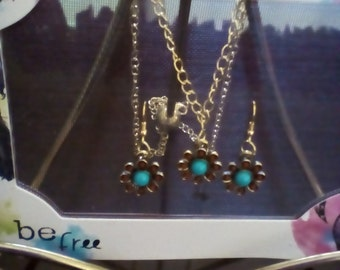 Teal & Red Flower Jewelry Set