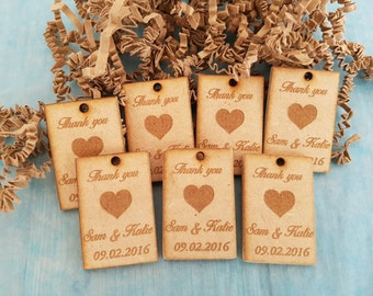 Personalized Wedding Favors - Wedding Decoration - Thank you Cards - Rustic Wedding Favors - Wedding Table Decorations - 30 Thank You Cards