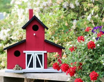 Large Red Barn Birdhouse